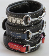 LEATHER HORSE SNAFFLE BIT BRACELET Black & Navy Blue with Silver Equestrian Buckle Hardware