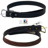 "CURVE STITCH BELT - 1½""  Wide Black & Brown Leather - USA"