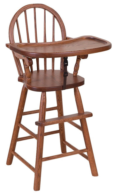 BOW BACK HIGH CHAIR - Solid Oak Child Booster Seat - Amish Handmade