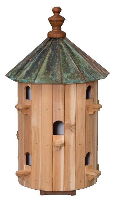 "10 ROOM PATINA COPPER TOP BIRDHOUSE - 26"" Cedar Bird Condominium"