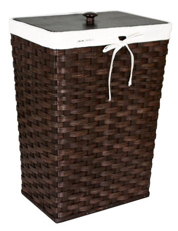 30 GALLON TRASH BASKET - Amish Hand Woven with Birch Wood Lid