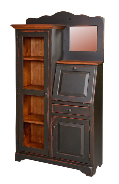 Amish Handmade Secretary Bookcase Office Den Unit Made in USA Distressed Stain