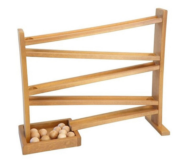 WOOD MARBLE BALL RUN - Racetrack Toy Roller Race Game