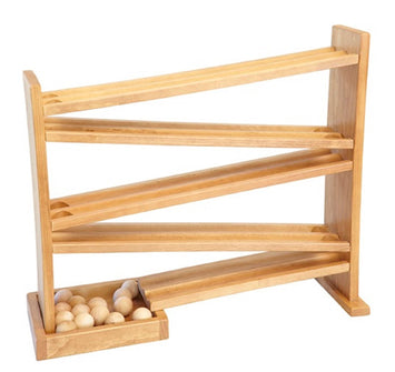 WOOD MARBLE BALL RUN - Racetrack Roller Toy Game
