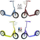 "12"" CHILDREN'S SCOOTER Genuine Amish with Basket & Brake in Bright Colors"