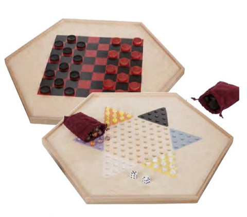 2 CLASSIC CHECKER GAMES - Chinese Checkers & Traditional Wood Board with Glass Marbles