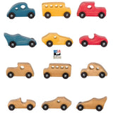 6 WOOD TOY CAR SET - 3 Classic & 3 Race Cars with Choice of Color USA