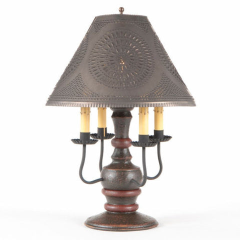 WOOD WROUGHT IRON LAMP 4 Candelabra Table Light with Espresso Base & Distressed Black Topcoat