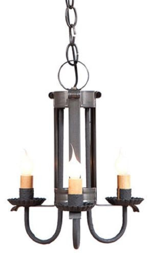 PRIMITIVE CEILING LIGHT Handcrafted Three (3) Candelabra Country Pendant Lamp in Blackened Tin