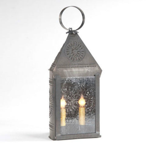 PUNCHED TIN LANTERN Large Dual Candle Colonial Chisel Pattern with Seedy Glass in Blackened Tin