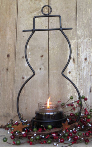 WROUGHT IRON SNOWMAN Primitive Yankee Jar Winter Decor Candle Holder