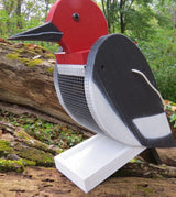 REDHEADED WOODPECKER BIRD FEEDER - Large Solid Wood USA Handmade