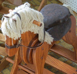 WOODEN ROCKING HORSE with LEATHER SADDLE - Amish Handmade Solid Wood Rocker