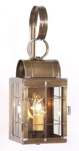 COLONIAL ENTRY LANTERN SCONCE Weathered Brass Handcrafted in the USA