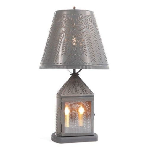 Punched Tin Lantern 2 Candelabra Lamp With Rustic Willow
