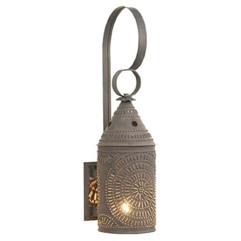 COLONIAL LANTERN WALL SCONCE Punched Tin In Blackened Tin USA