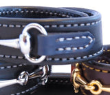 LEATHER HORSE SNAFFLE BIT BRACELET Black & Navy Blue with Silver Equestrian Hardware
