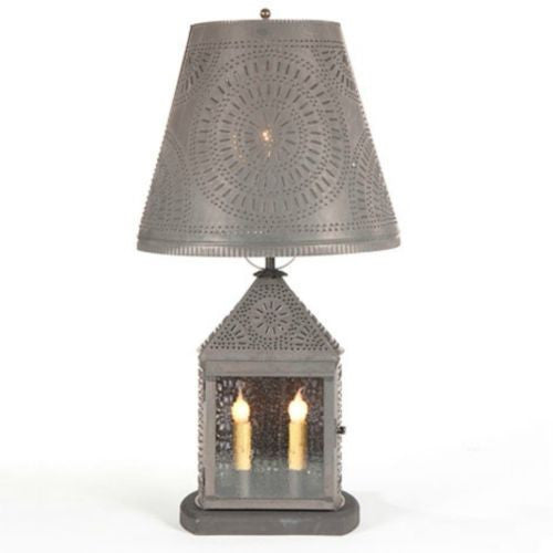 PUNCHED TIN LANTERN 2 Candelabra Base Lamp with Chisel Pattern in Blackened Tin