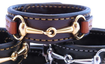 LEATHER HORSE BIT BRACELET Bordeaux & Chestnut with Gold Snaffle Equestrian Hardware