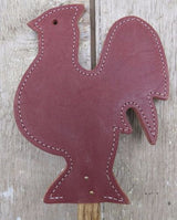 LEATHER ROOSTER FLY SWATTER Amish Handmade Country Chicken Decor