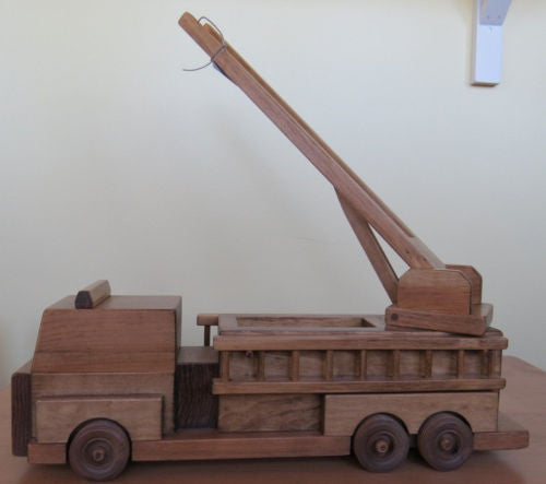 Large Fire Engine Ladder Truck Wood Toy Amish Handmade