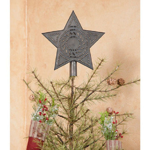 CHRISTMAS STAR Handcrafted Primitive Punched Tin Tree Topper Made in USA