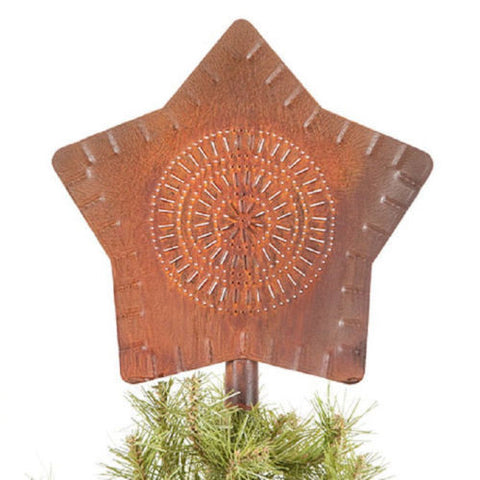CHRISTMAS TREE STAR Primitive Rusty Punched Tin Metal Topper Made in USA