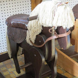 "GALLOPING ROCKING ""Clackity"" HORSE with Faux Leather Cushioned Saddle Amish Handmade"