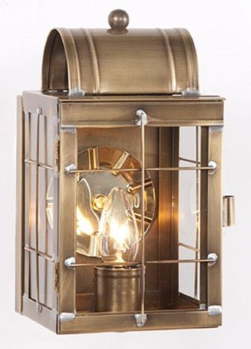 Brass Entry Lantern Sconce Handcrafted Weathered Colonial