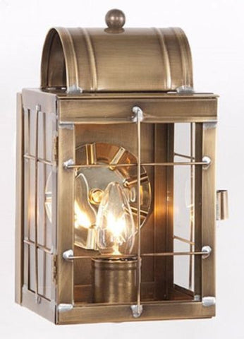 BRASS ENTRY LANTERN SCONCE Handcrafted Weathered Colonial Wall Fixture