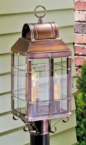 OUTDOOR POST LANTERN Antique Copper Handcrafted Colonial Post Mount Light