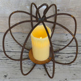WROUGHT IRON PUMPKIN CENTERPIECE Rusty 3-D Pillar Candle Holder