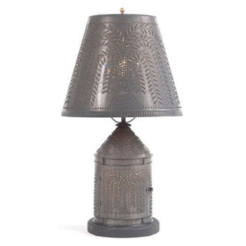 PUNCHED TIN LANTERN TABLE LAMP w/ Shade in Primitive Willow Pattern