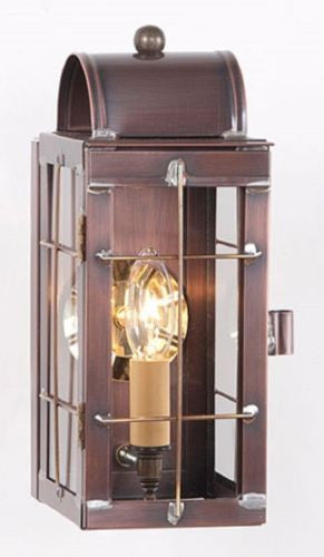 COLONIAL LANTERN WALL SCONCE Rustic Antique Copper Handcrafted in USA