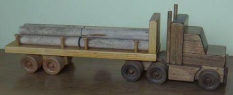 LOGGING TRACTOR TRAILER TRUCK with Log Cargo Load Amish Handmade Wood Toy