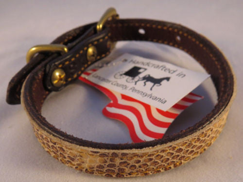 LEATHER PET COLLAR with Faux Snakeskin for Dog Cat or Small Pet