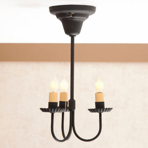 WROUGHT IRON CEILING LIGHT Handcrafted Simple & Elegant 3 Arm Hanging Colonial Fixture in Textured Black