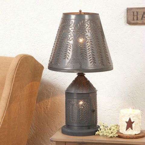 PUNCHED TIN LANTERN TABLE LAMP Candelabra Base w/ Shade in Primitive Willow Pattern