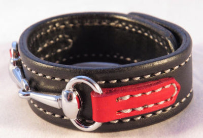 LEATHER HORSE BIT BRACELET Handmade Red & Black with Silver Equestrian Snaffle