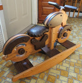 ROCKING MOTORCYCLE Amish Handmade Solid Oak Bike Rocker Bike with Faux Leather Seat