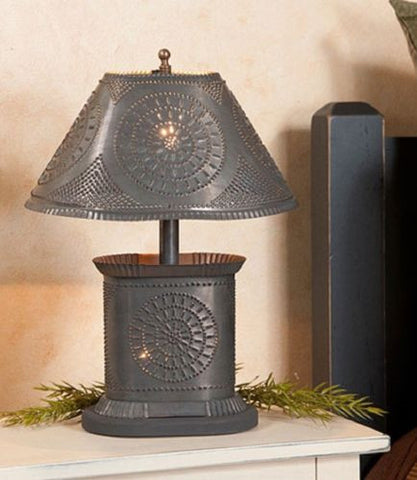 PUNCHED TIN TABLE LAMP Petitie Oval Accent in Chisel Pattern and Blackened Tin Finish