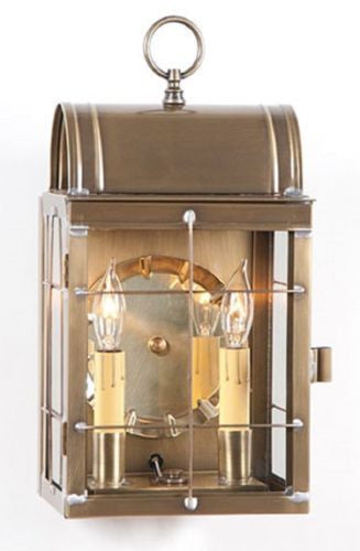 OUTDOOR COLONIAL SCONCE Lantern Handcrafted Weathered Brass Dual Candle Wall Lamp
