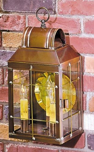 OUTDOOR LANTERN SCONCE LIGHT Handcrafted Weathered Brass Colonial Wall Lamp with Handmade Bars