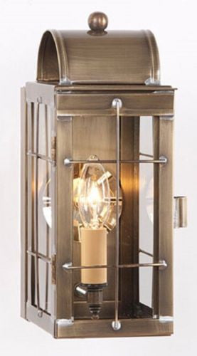 COLONIAL LANTERN ENTRY SCONCE Handcrafted Primitive Weathered Brass Slender Outdoor Light