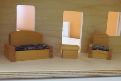 FURNISHED WOOD DOLL HOUSE - Wooden Furniture Included - Amish Handmade in USA