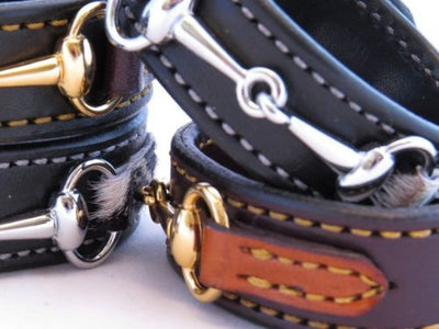 LEATHER HORSE BIT BRACELET Bordeaux & Chestnut with Gold Snaffle Equestrian Buckle Hardware