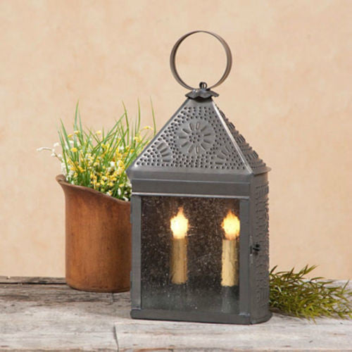 Colonial Punched Tin Lantern Dual Candle Lamp With Ornate