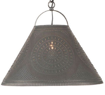 Large PUNCHED TIN PENDANT Handcrafted Primitive Ceiling Hanging Shade Light in Blackened Tin