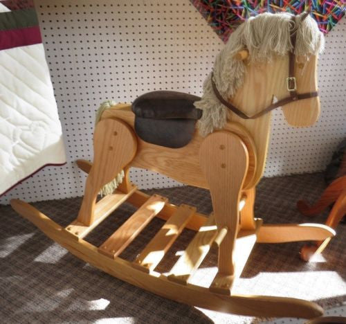 Large Rocking Horse Amish Handmade Solid Oak With Faux Leather Saddle Saving Shepherd