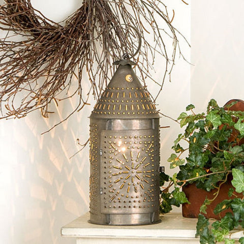 "15"" Revere Lantern with Chisel Design in Blackened Tin Finish"